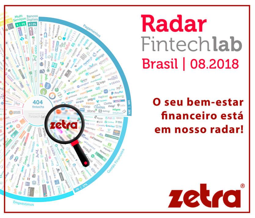 ZETRA ESTÁ NO RADAR FINTECHLAB, NA CATEGORIA GESTÃO FINANCEIRA
